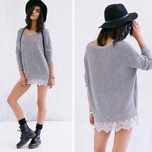 Pins and Needles Gray Knit Lace Trim Sweater XS